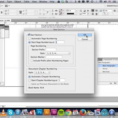 Indesign — Numbering & Section Options